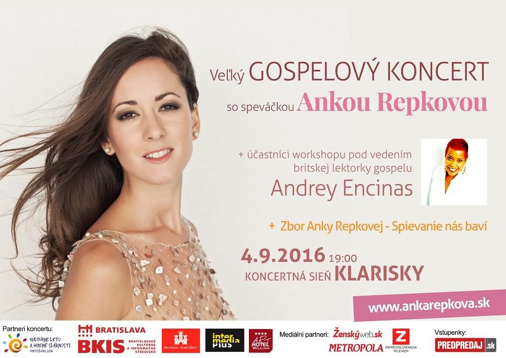 Vyhrajte lístky na gospelový koncert speváčky Anky Repkovej.